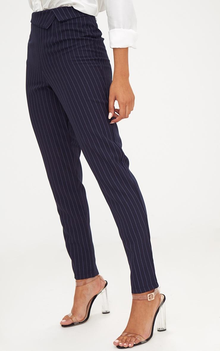 Navy Pinstripe Collar Waist Trousers 4