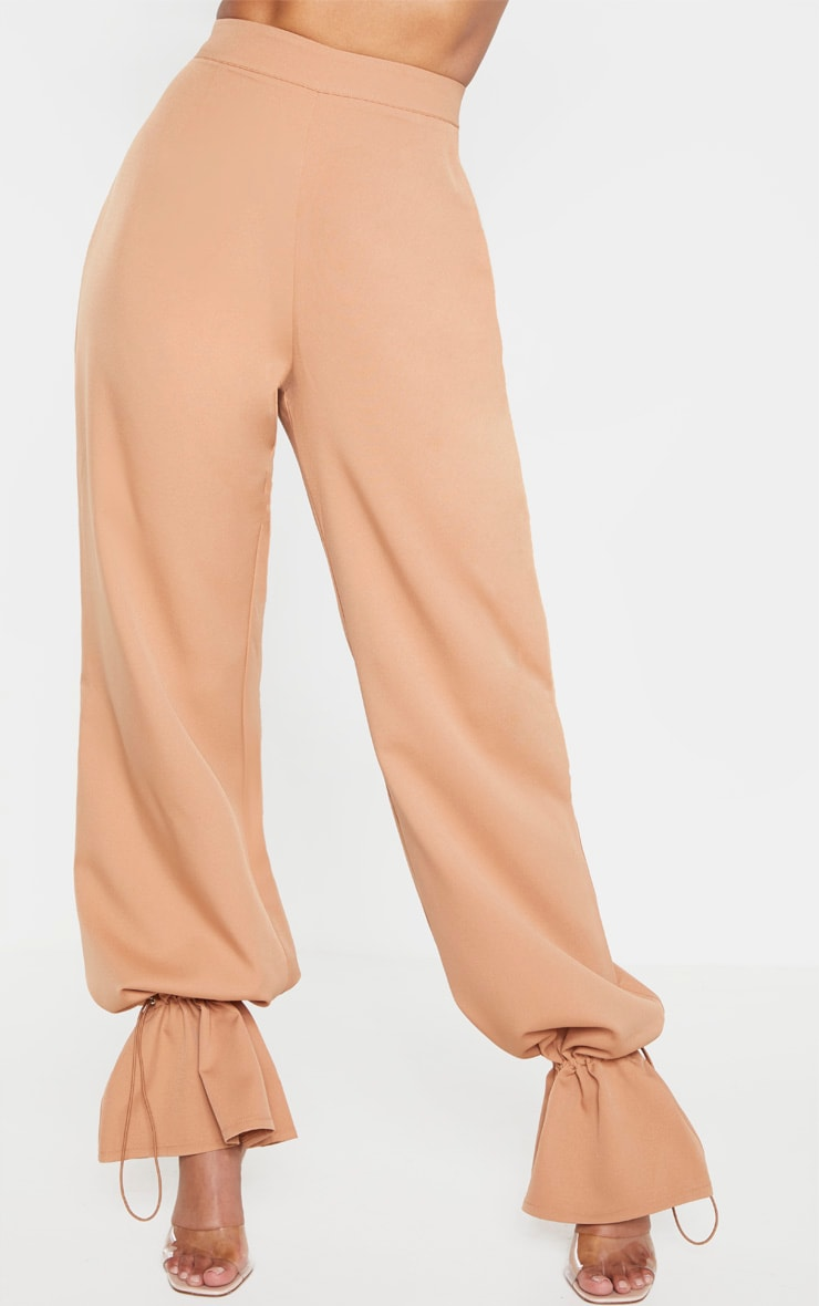 Camel Woven Cuffed Straight Leg Pants 2