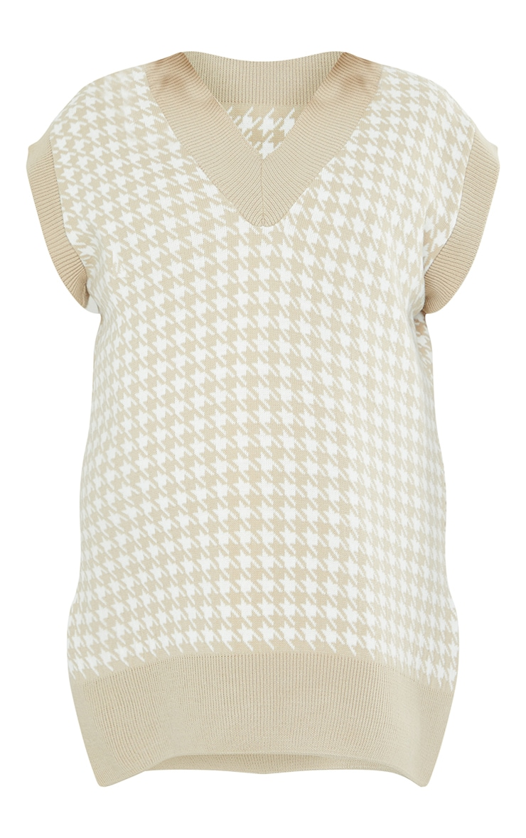 Maternity Stone Dogtooth V Neck Knitted Side Split Vest 5