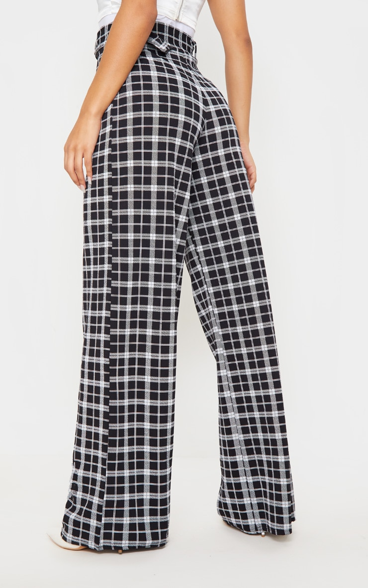 Check Belted Wide Leg Pants 4