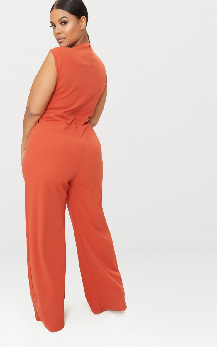 Plus Rust Plunge Wide Leg Jumpsuit 2