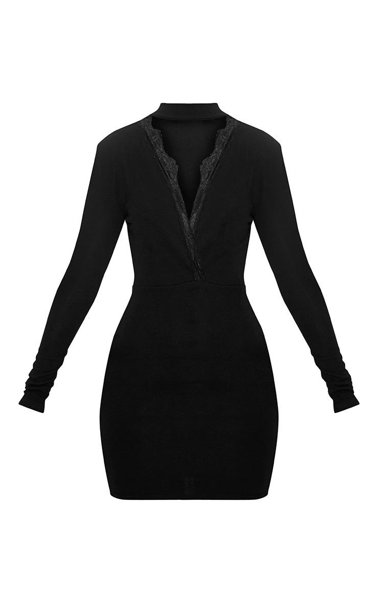 Gia Black Lace Trim Choker Neck Bodycon Dress 3