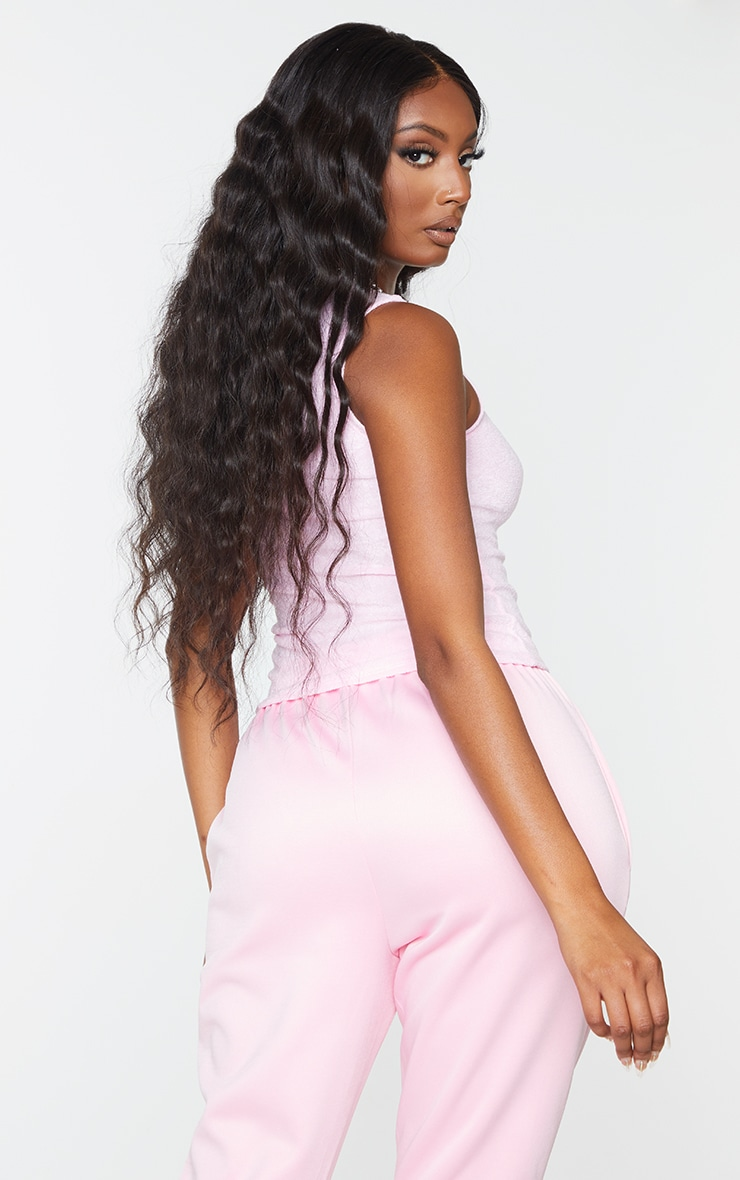 PRETTYLITTLETHING Baby Pink Towelling Badge Detail Vest Top 2