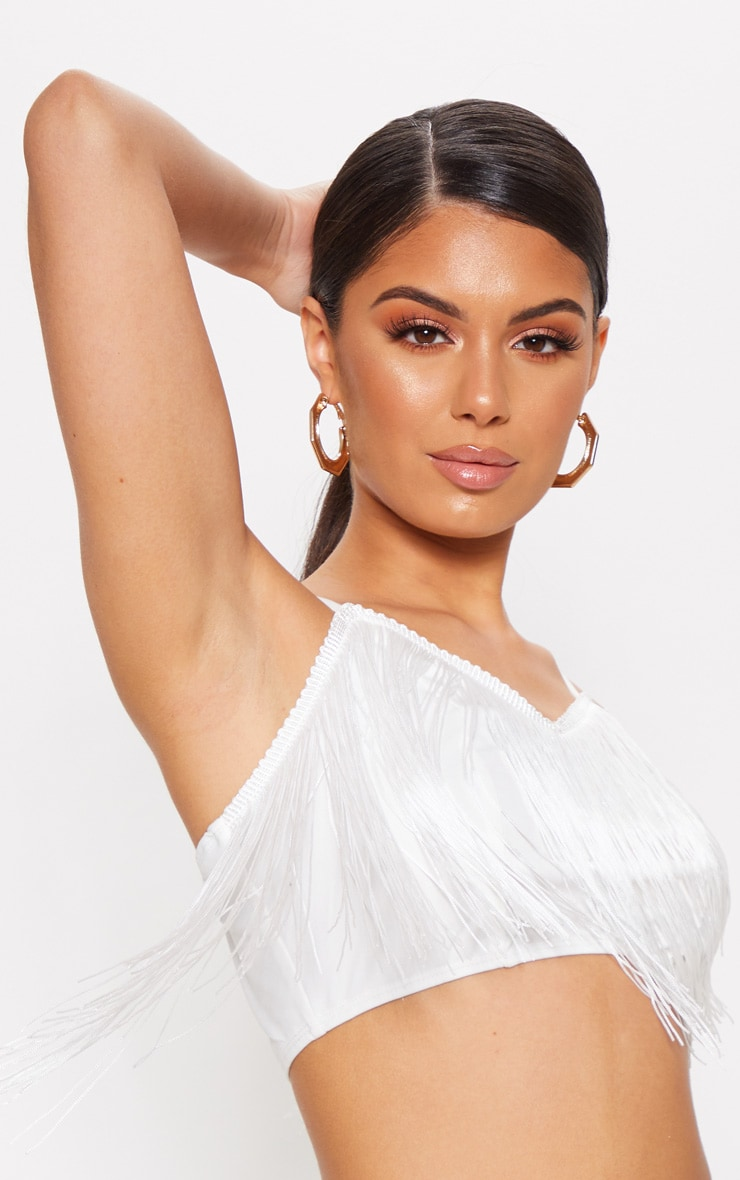 White Tassel Trim Crop Top 5