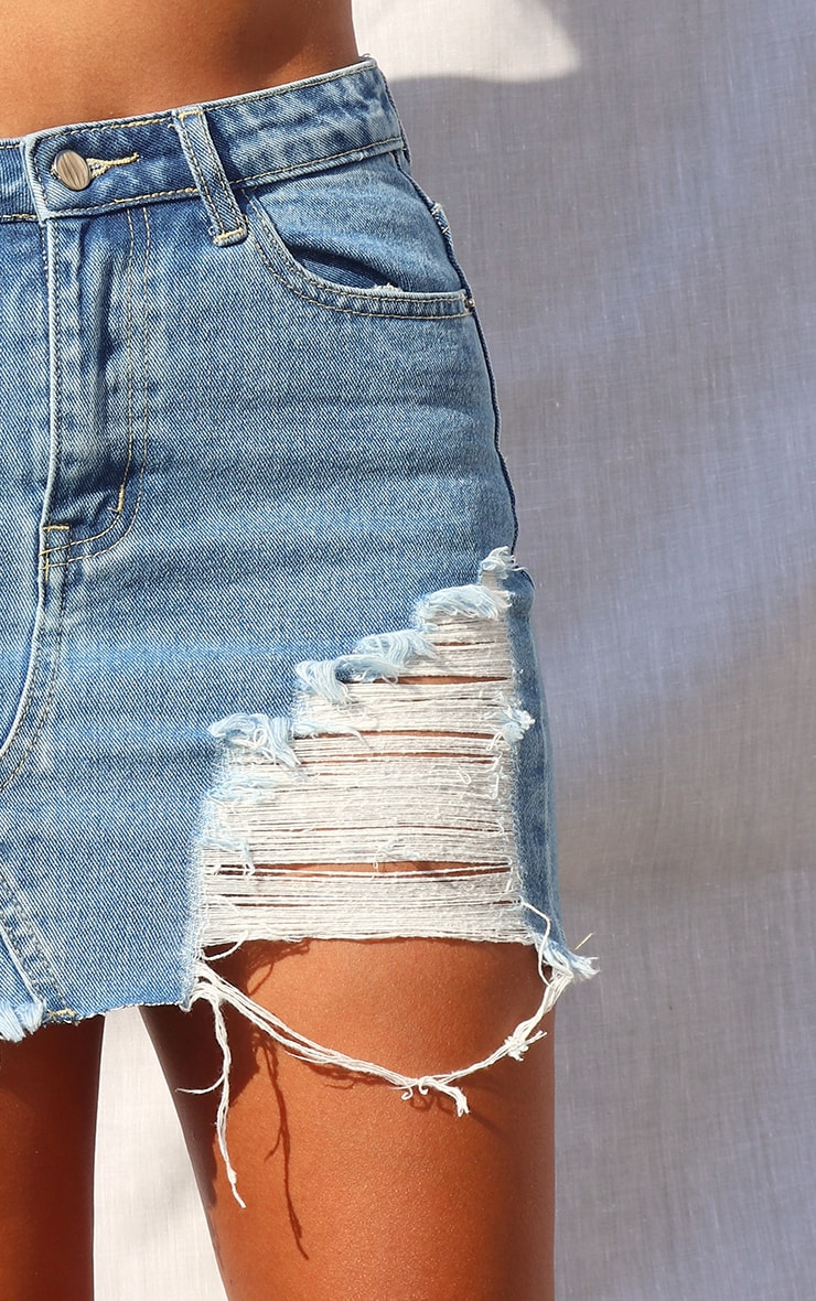 Petite Mid Blue Wash Distressed Mini Denim Skirt 4