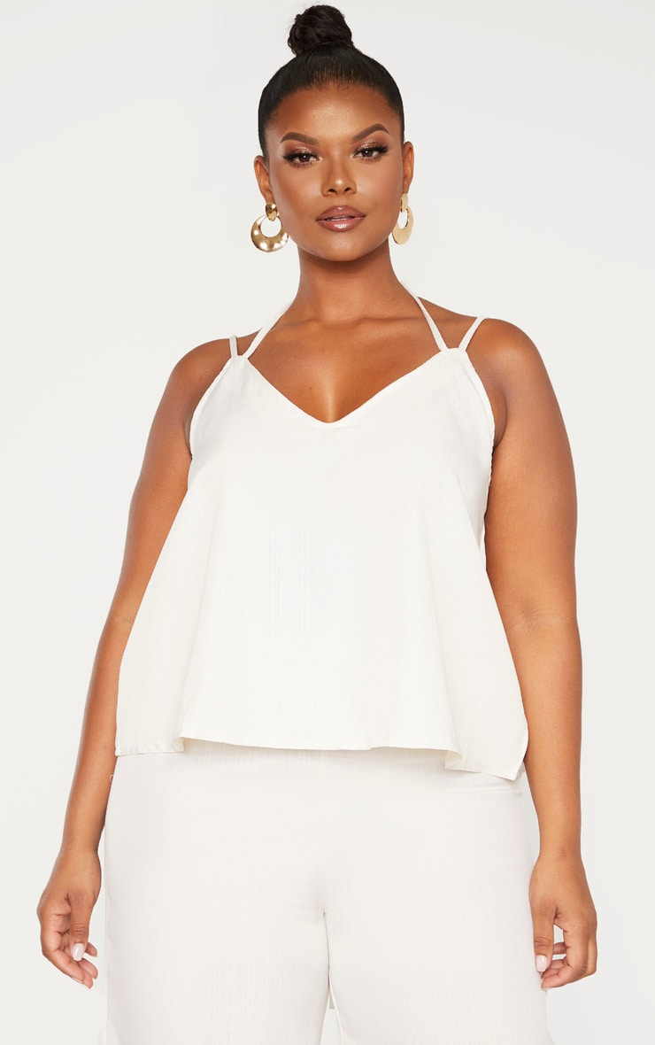 Plus Stone Woven Tie Back Cami Top  1