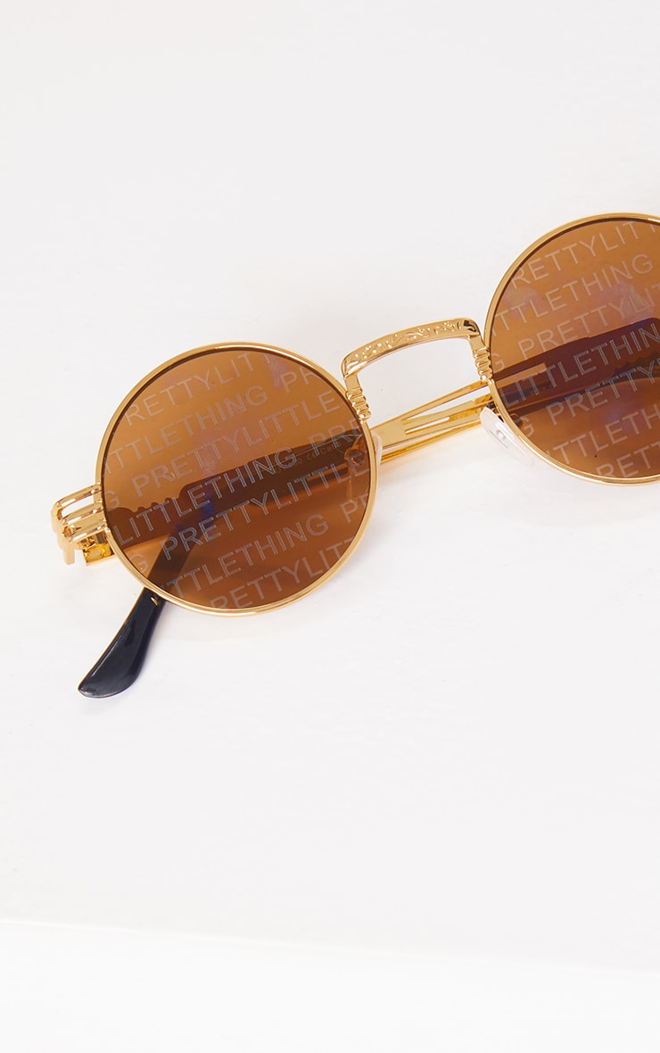 PRETTYLITTLETHING Gold With Brown Lens Round Sunglasses 3