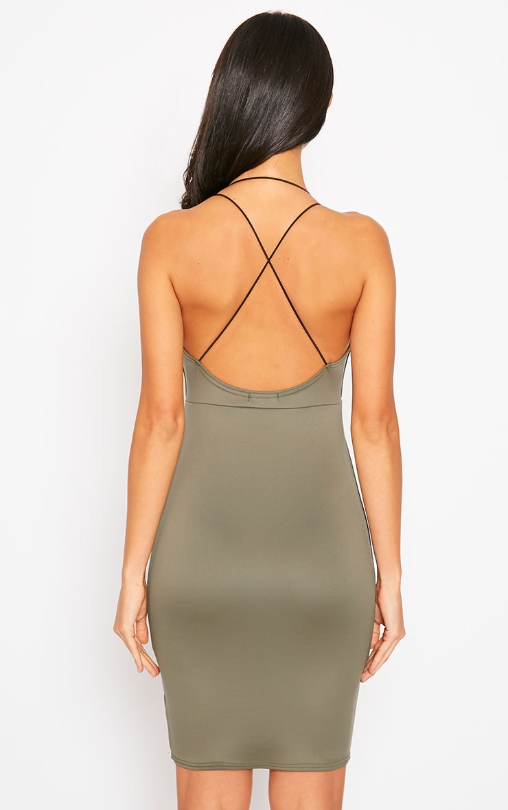 Gisele Khaki Plunge Dress 2