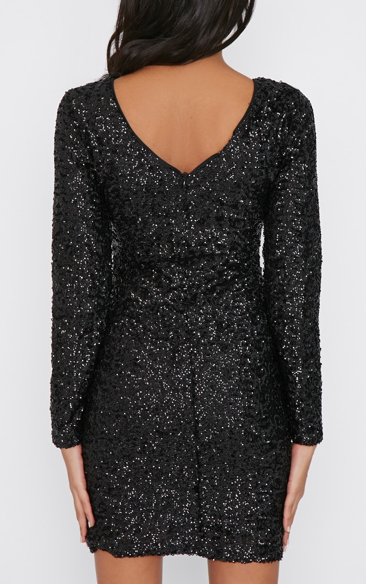 Danya Black Sequin Bodycon Dress 2