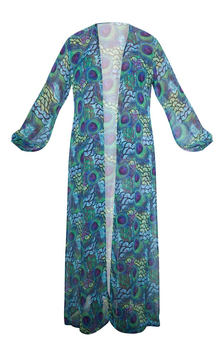 Multi Peacock Print Chiffon Balloon Sleeve Kimono 4
