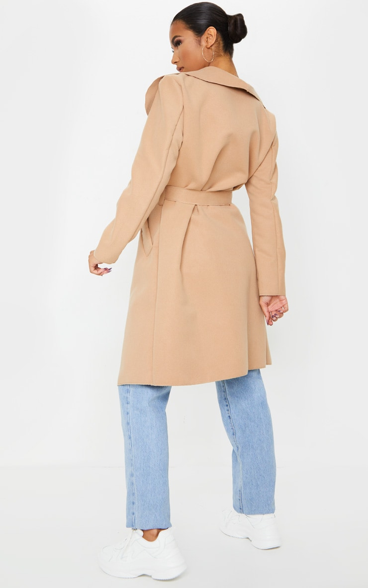 Veronica Camel Oversized Waterfall Belt Coat 3