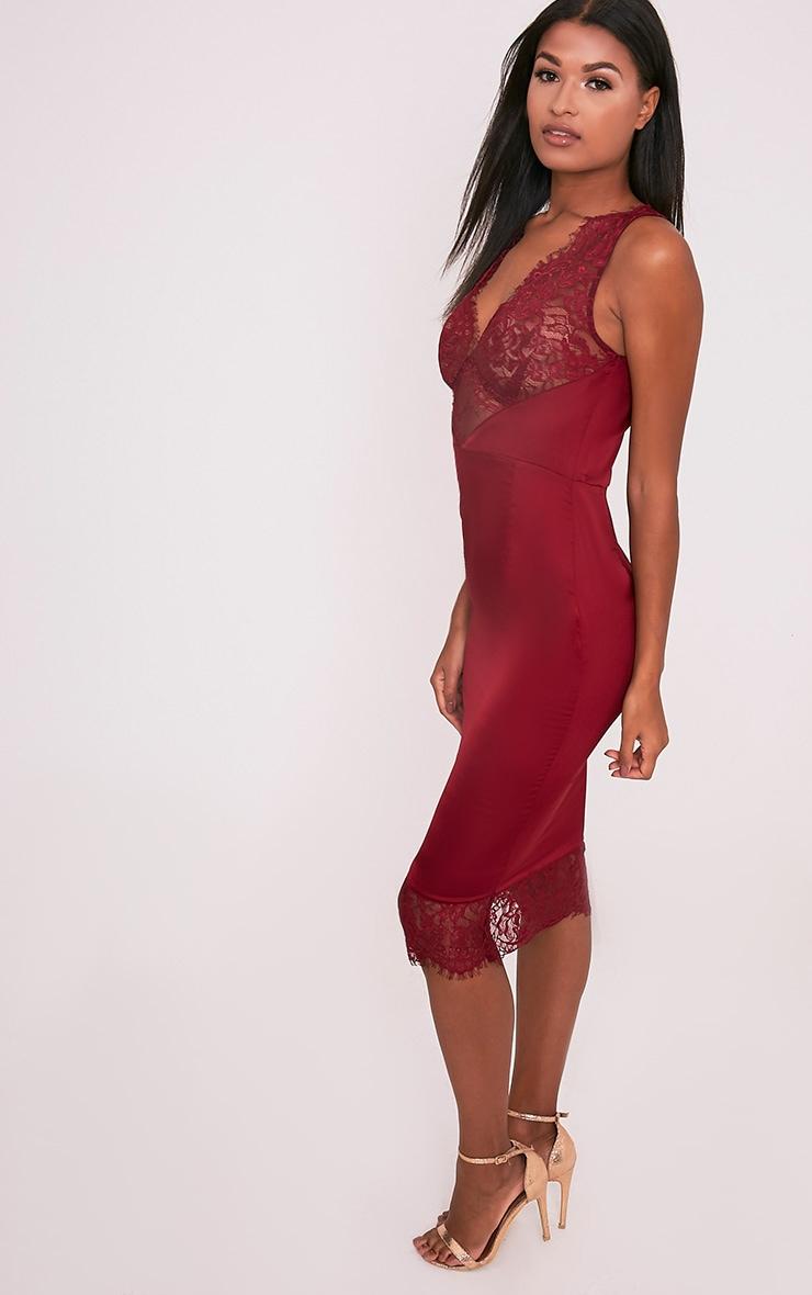Caysie Burgundy Sheer Lace Satin Midi Dress 4