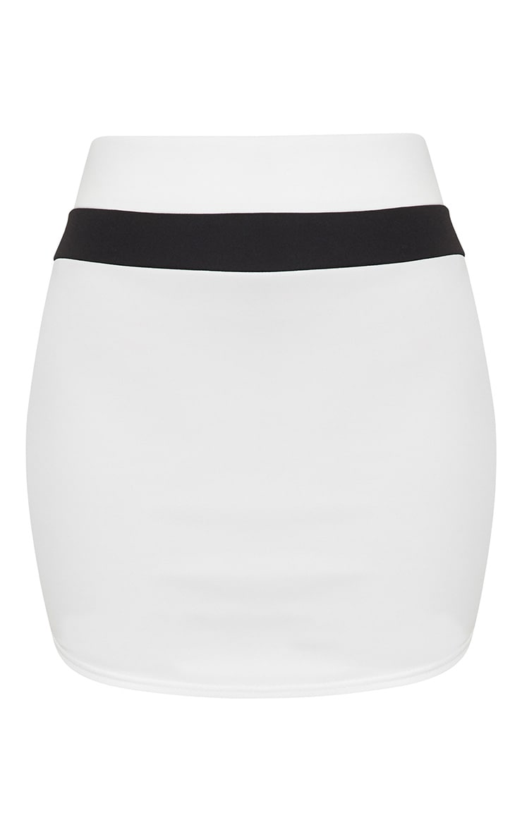 White Scuba Contrast Panel Curve Hem Mini Skirt  3
