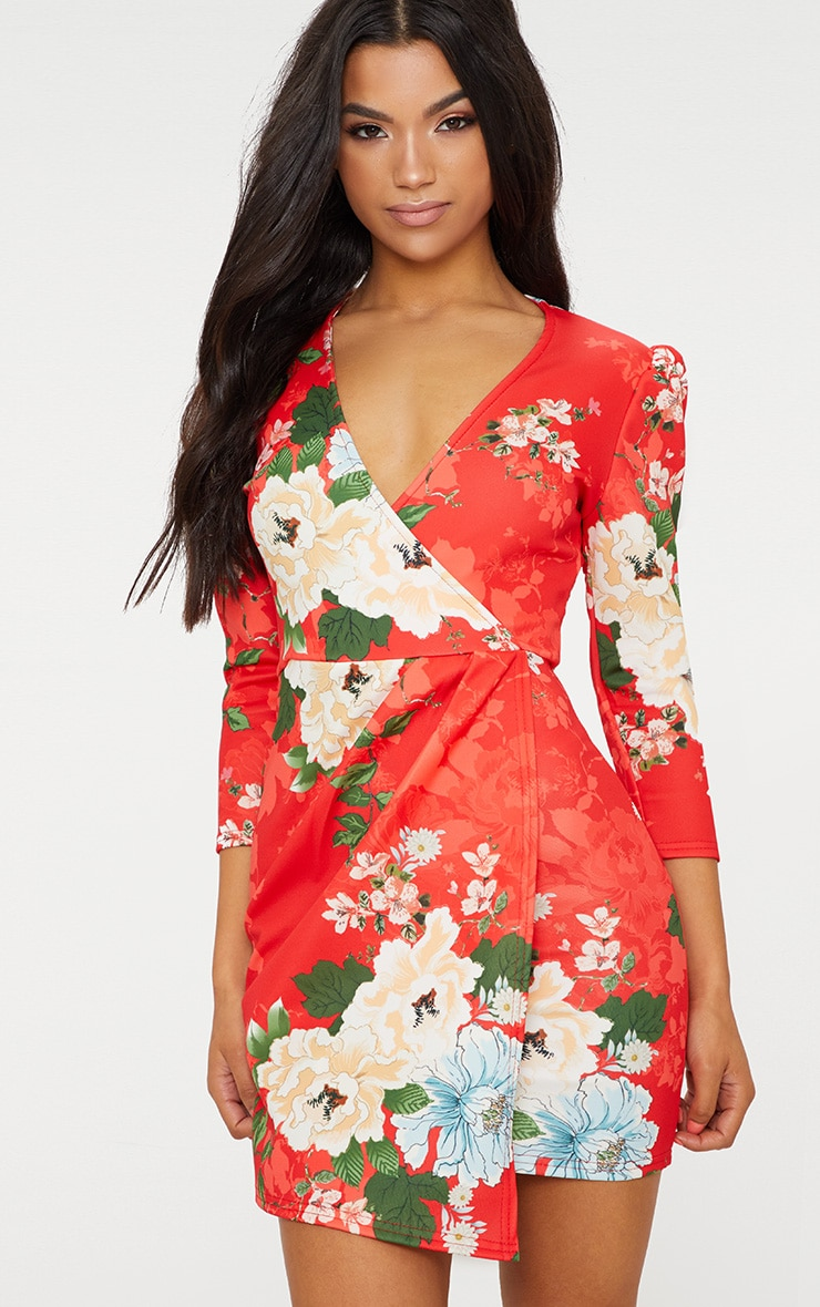 d2a559ff2ae1 Red Floral Wrap Long Sleeve Dress image 1