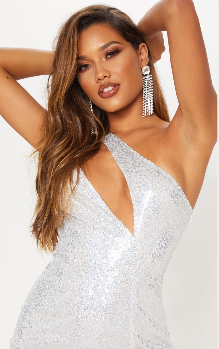 Silver Sequin One Shoulder Cut Out Bodycon Dress 7
