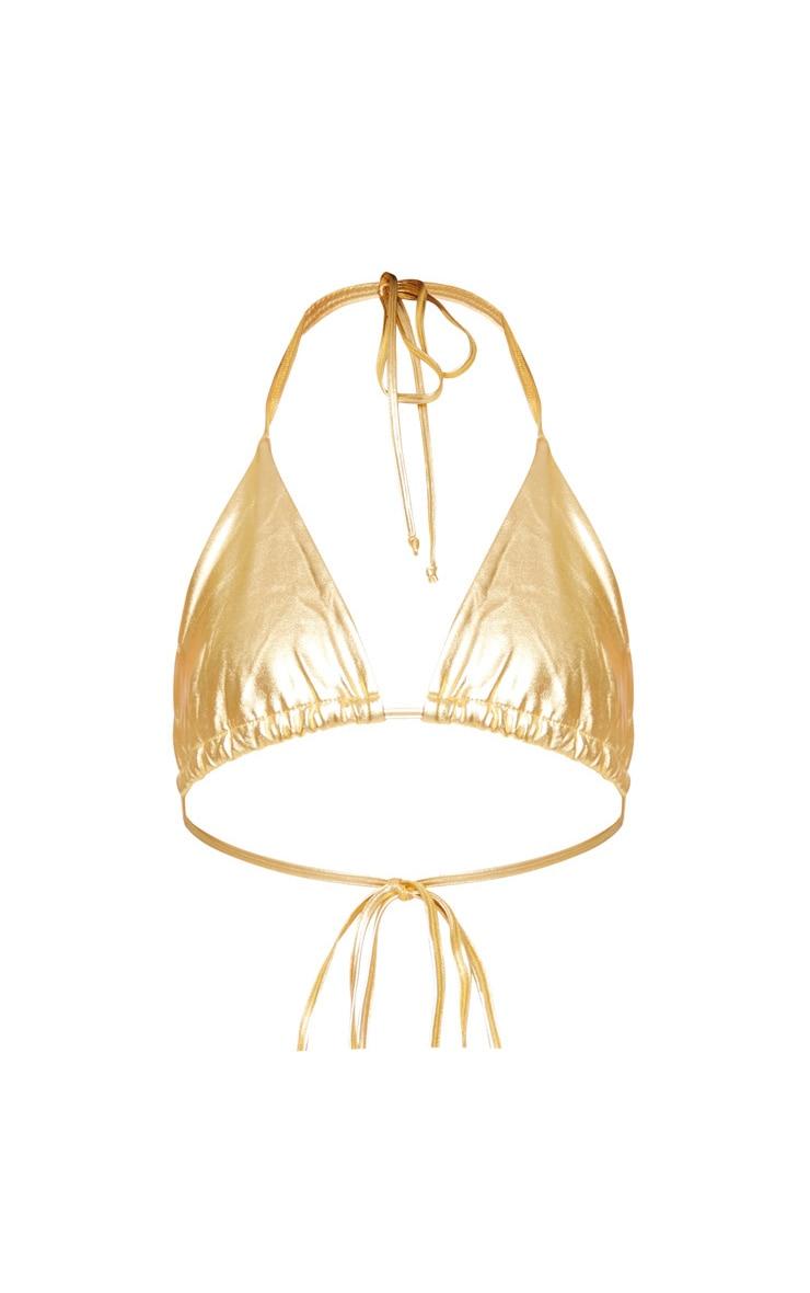Gold Metallic Triangle Bikini Top 6