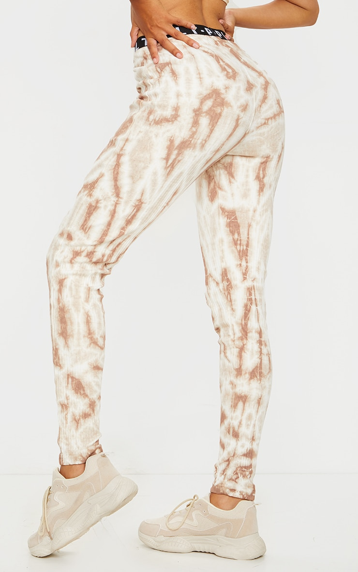 PRETTYLITTLETHING Stone Ribbed Tie Dye Joggers 3