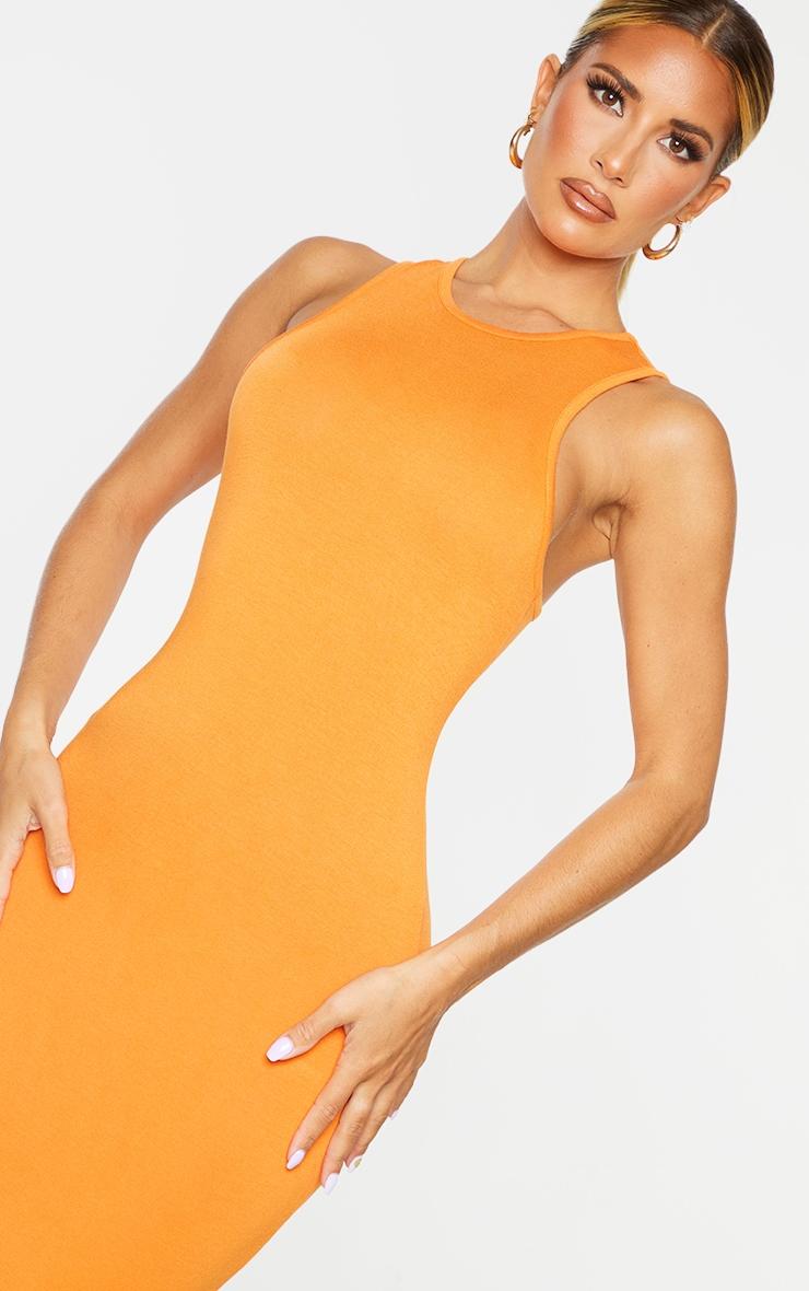 Orange Racer Neck Jersey Midaxi Dress 4