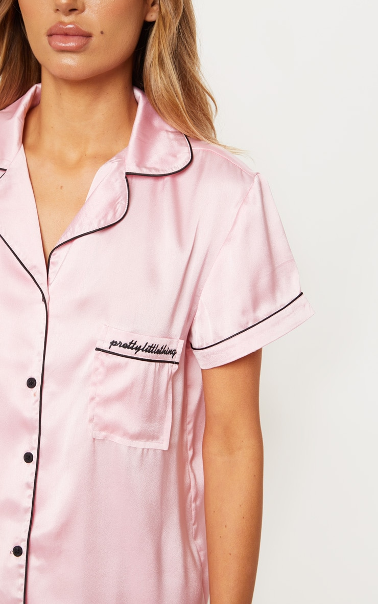 PRETTYLITTLETHING Pink Satin Pocket Pyjama Set 5