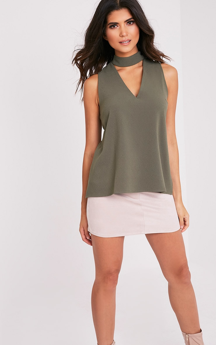 Karen Khaki Cut Out Neck Shift Top 1
