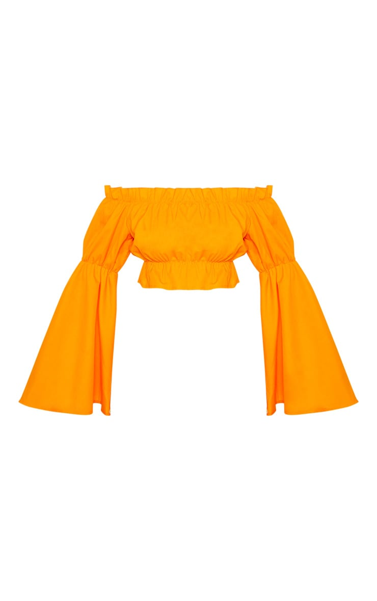 Orange Ruched Bardot Flare Sleeve Crop Top 3