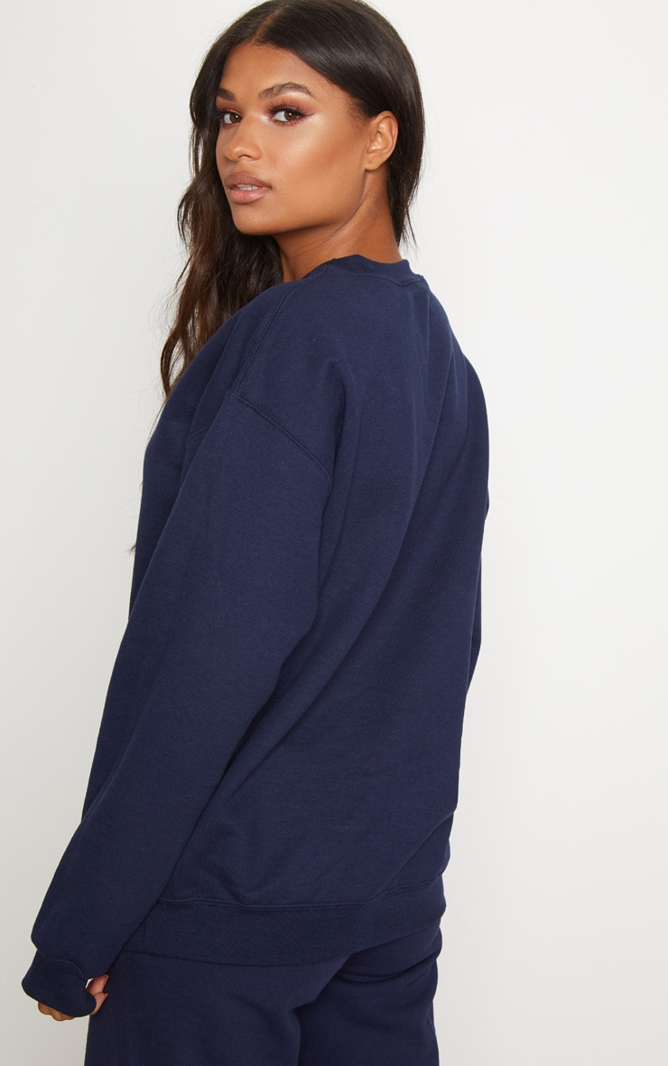 PRETTYLITTLETHING Navy Embroidered Sweater 2