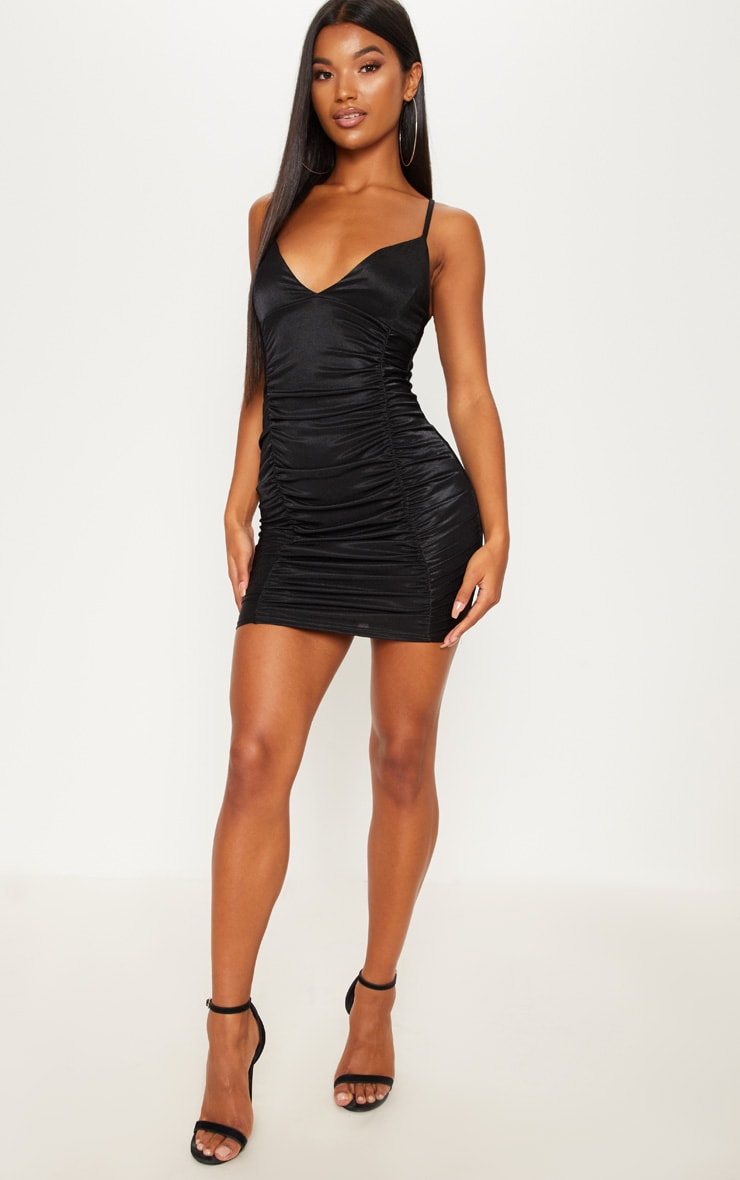 Black Satin Ruched Bodycon Dress 4