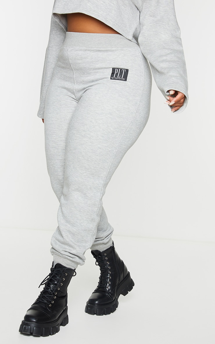 PRETTYLITTLETHING Plus Grey Badge Detail Joggers 2