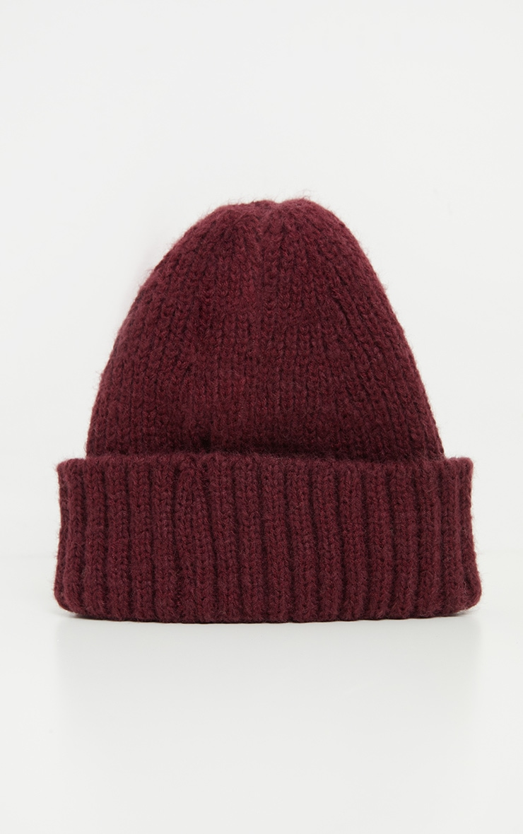 Burgundy Ribbed Knitted Beanie 2