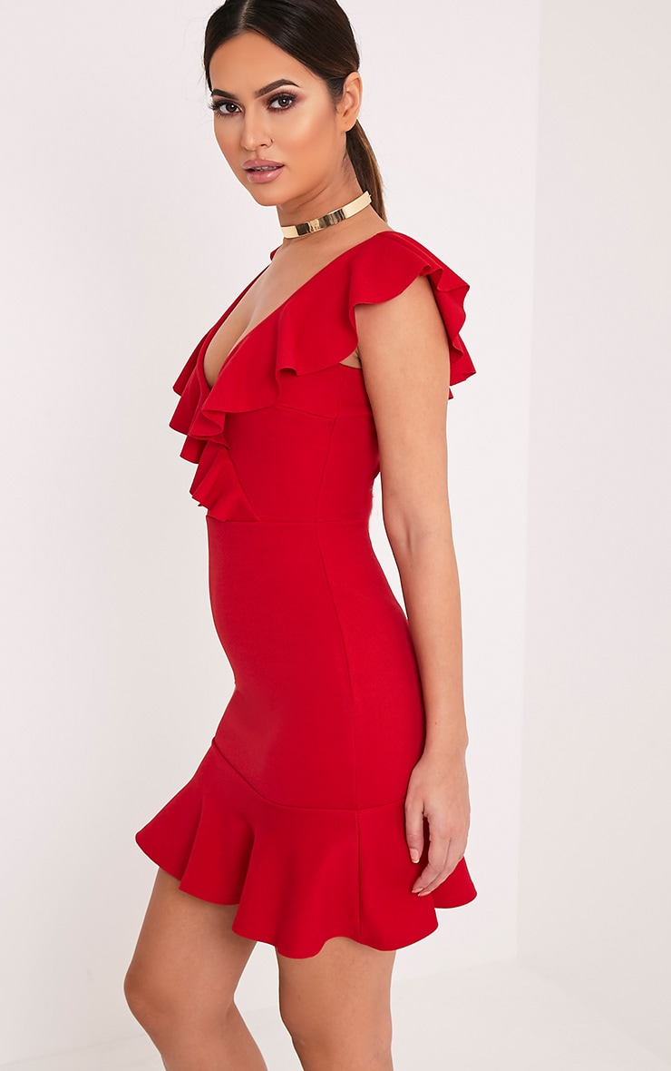 Luissi Red Frill Detail Bodycon Dress 4