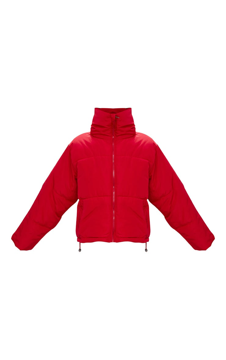 Red Cropped Puffer Jacket 3