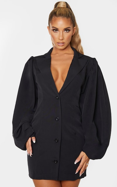 Black Balloon Sleeve Button Down Blazer Dress