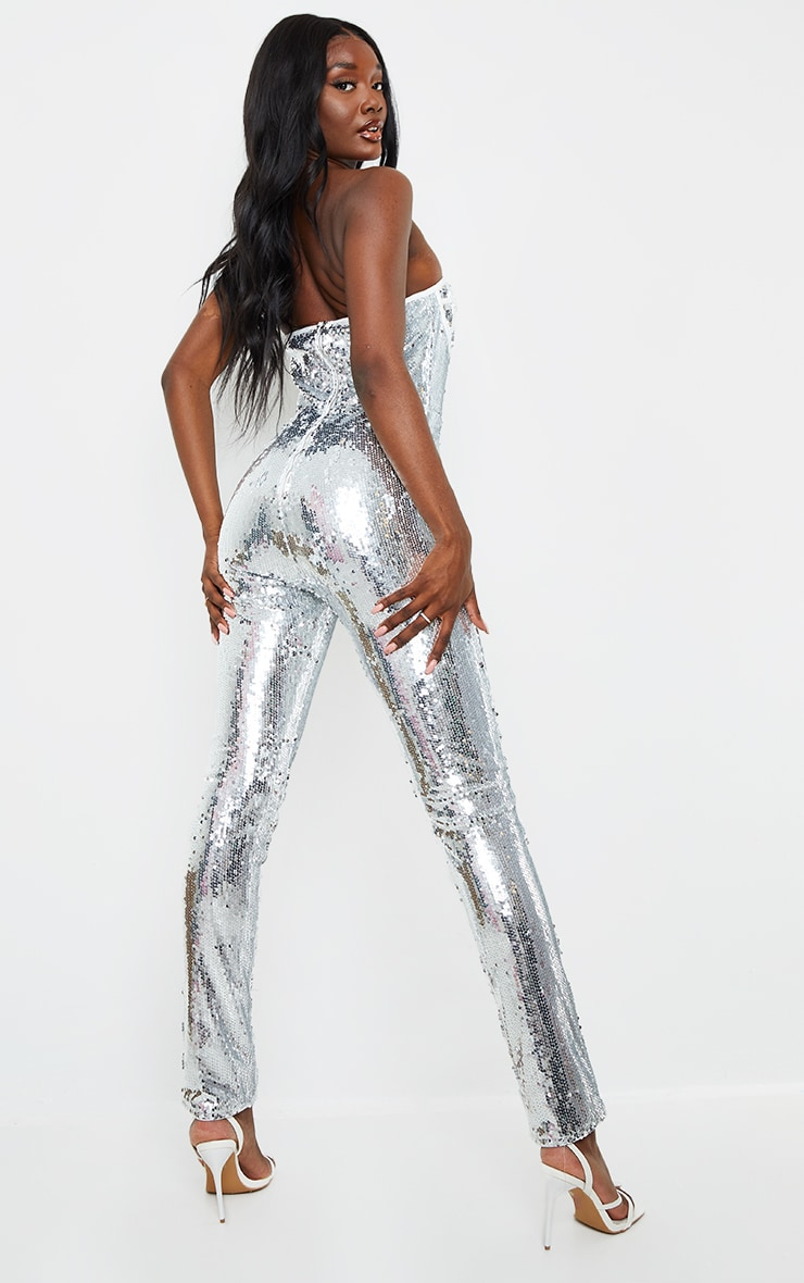 Tall Silver Sequin Corset Detail Jumpsuit 2