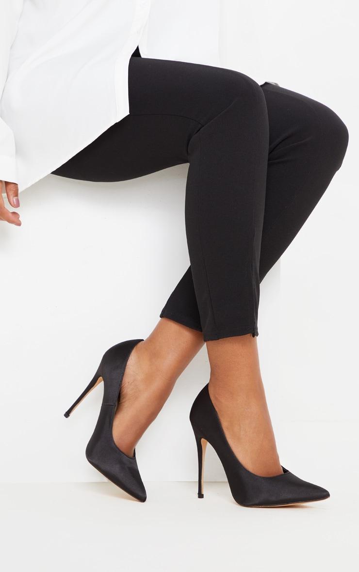 Black Satin Court Shoes 2