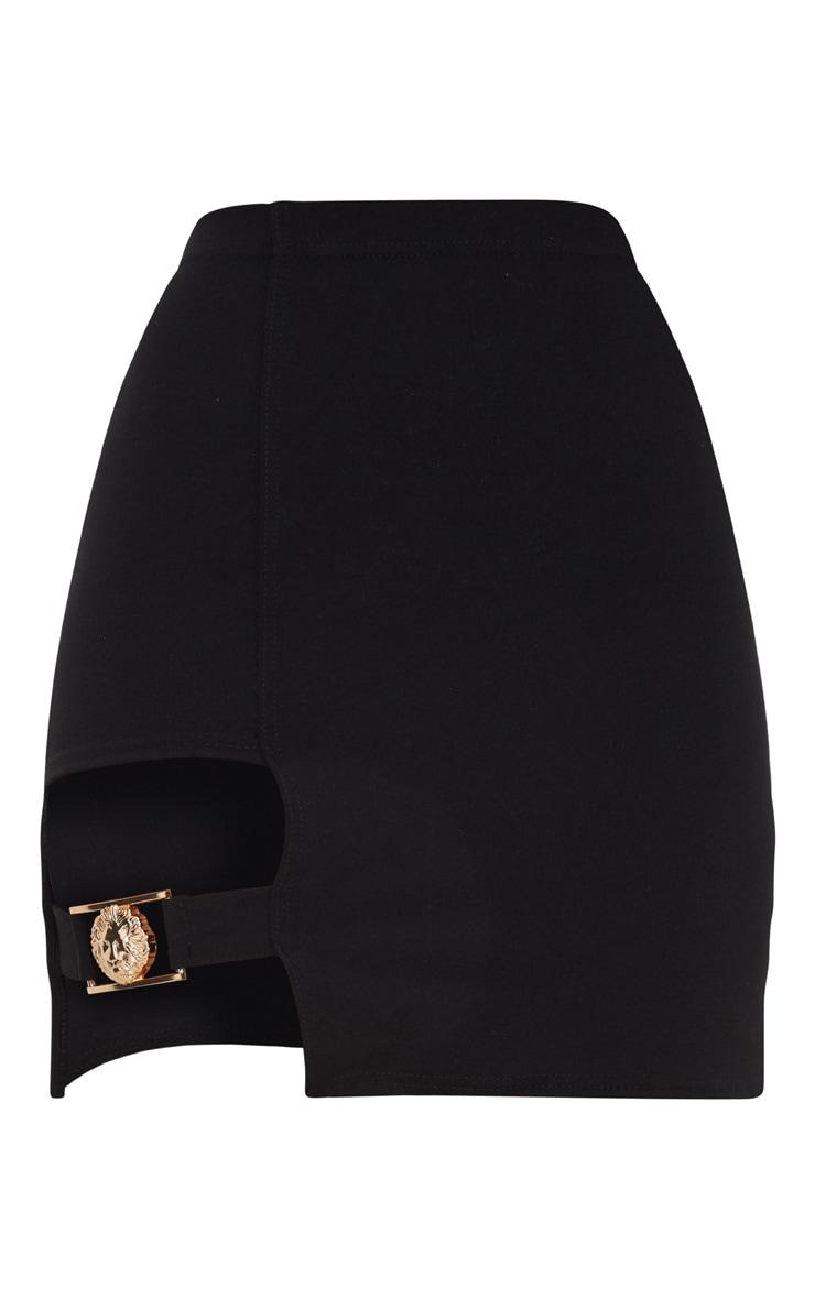 Black Lion Head Buckle Detail Mini Skirt 3