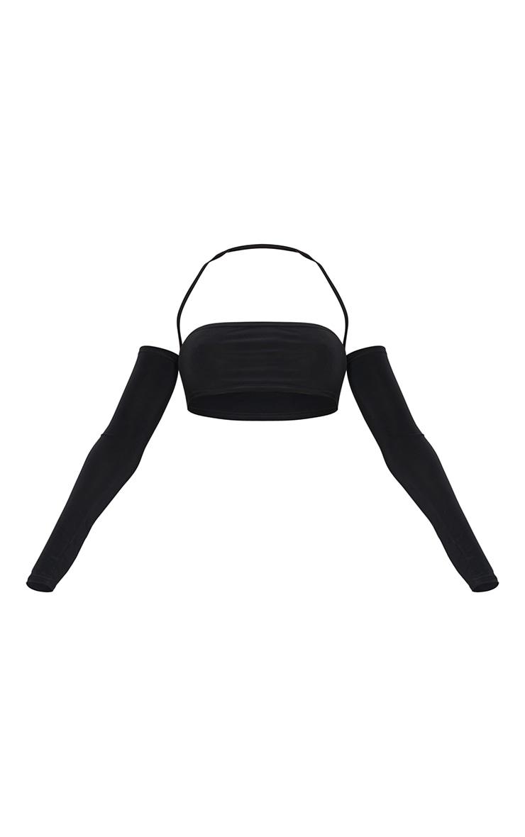 Black Slinky Halterneck Long Sleeve Crop Top 5
