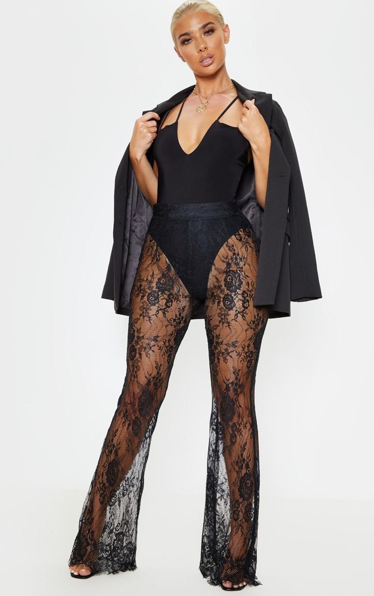Black Lace Flare Leg Trouser 1