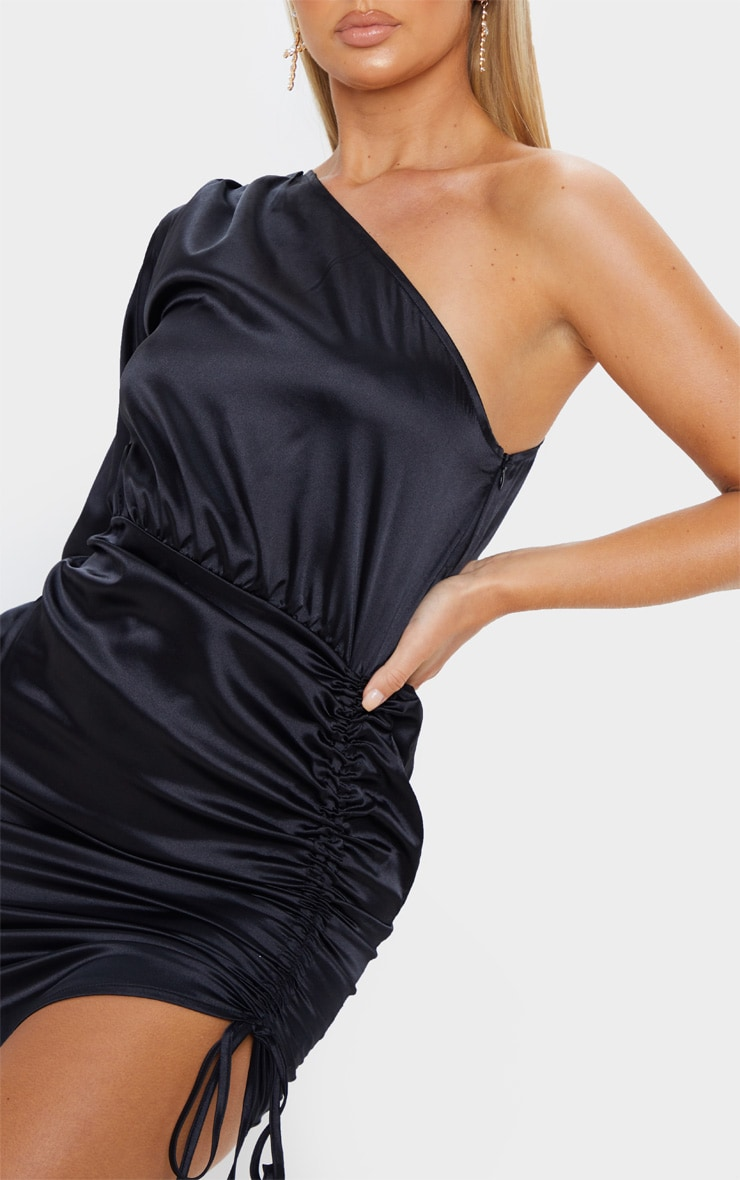 Black One Shoulder Ruched Satin Bodycon Dress 5