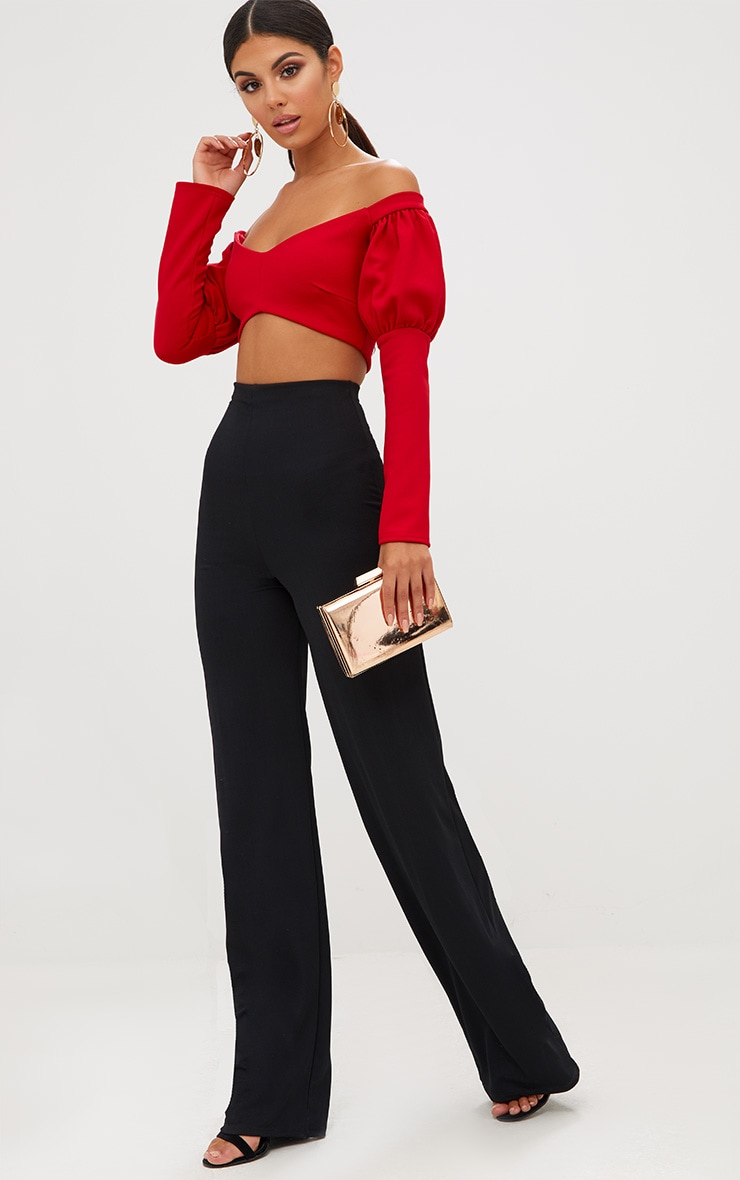 Red Puff Sleeve Bardot Crop Top 5