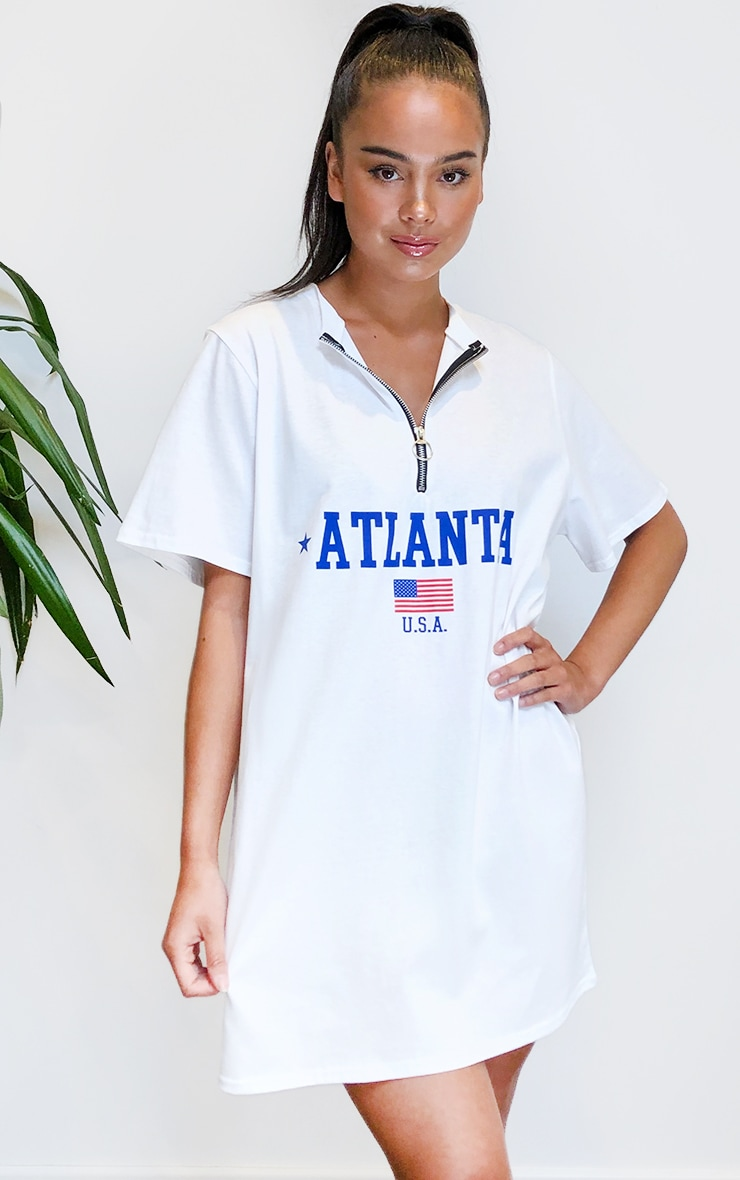 White Atlanta Oversized Zip T Shirt Dress 3