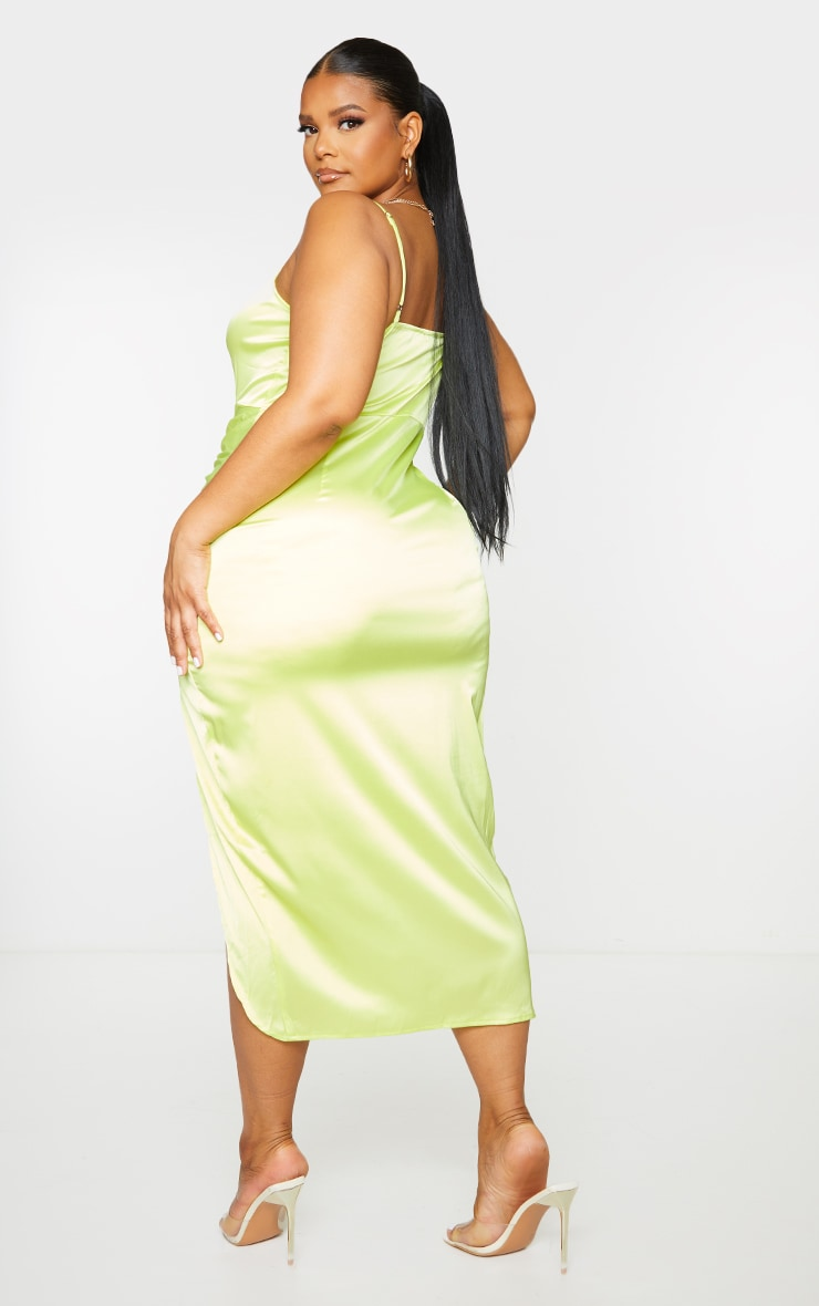 Plus Lime Satin Cut Out Ruched Midaxi Dress 2