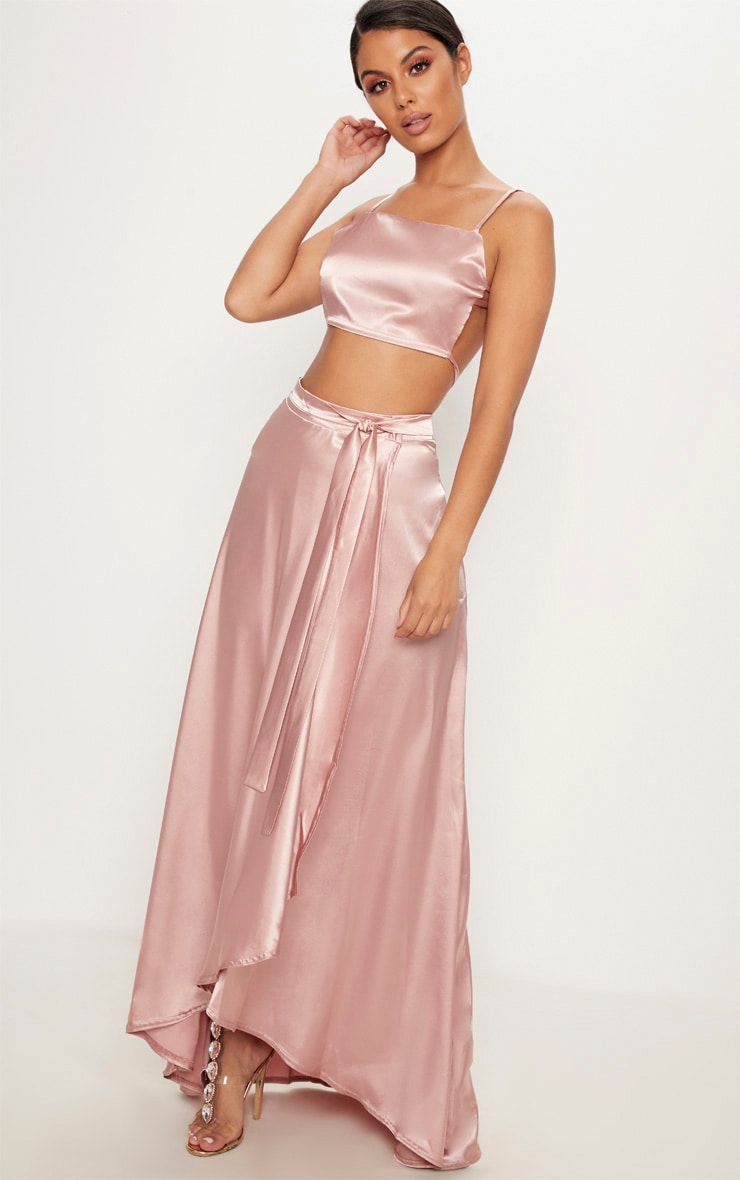 Rose Gold Satin Backless Strappy Crop Top 4