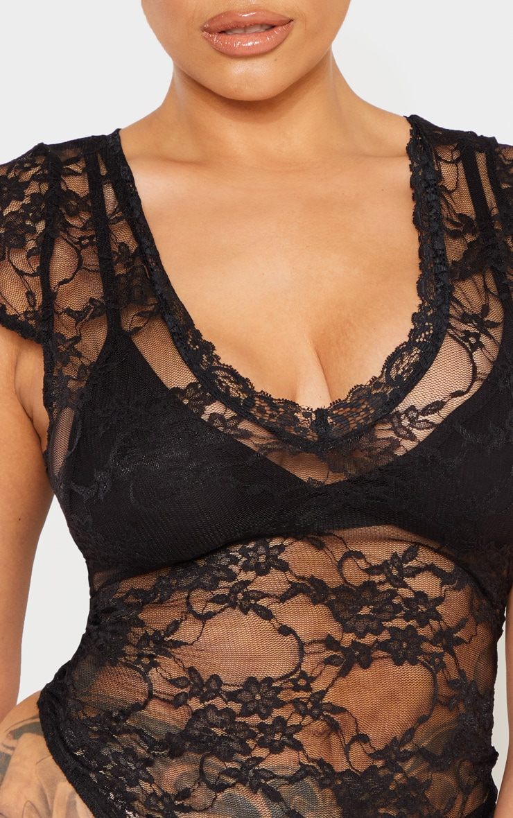 Shape Black Lace V Neck Bodysuit  4