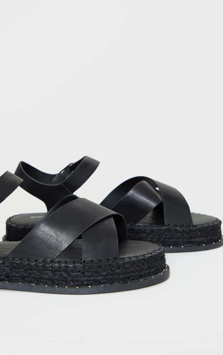 Black Studded Flatform Espadrille Cross Strap Sandals 4
