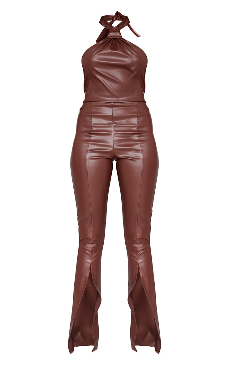Chocolate Pu Knot Detail Split Hem Jumpsuit 5