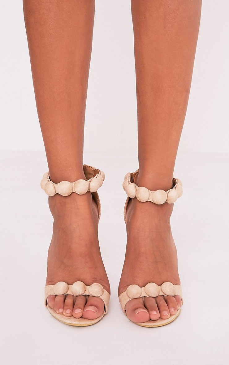 Una Cream Suede Studded Strappy Heeled Sandal 3