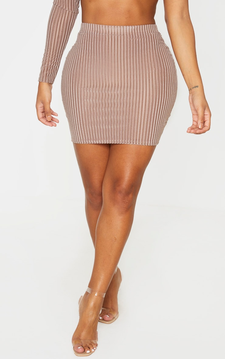 Shape Mocha Striped Velvet Bodycon Skirt 2