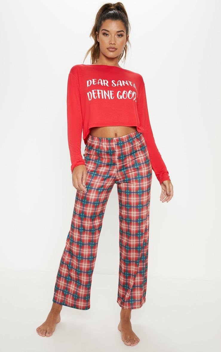 Santa Define Good Check Red Pyjama Set