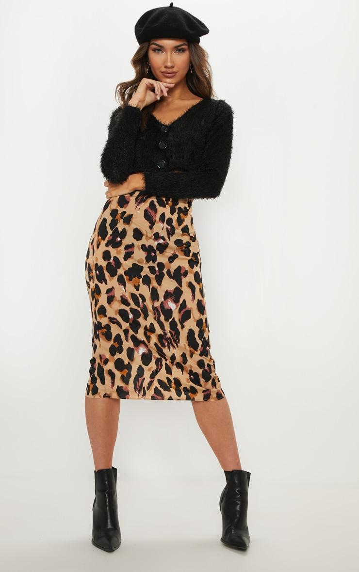 Jupe mi-longue à imprimé léopard 1