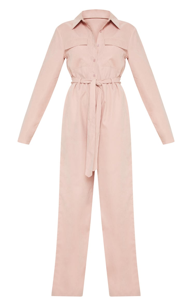 Petite Pink Faux Suede Button Up Jumpsuit 3